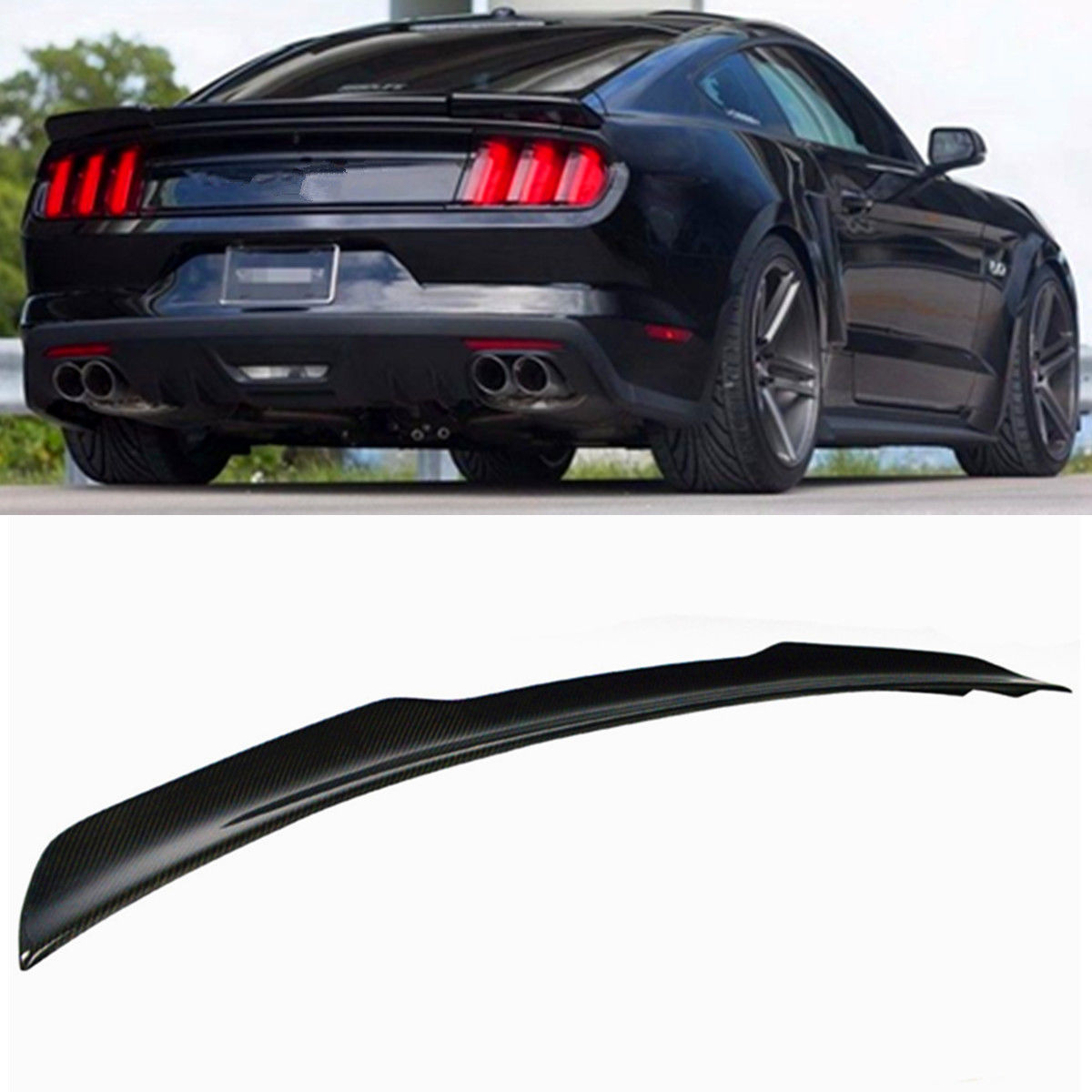 For Ford Mustang 2015-2019 GT H Style Carbon Fiber Rear Trunk Spoiler Wing